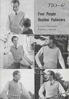 Patons Pattern 720 Four Purple Heather Pullovers
