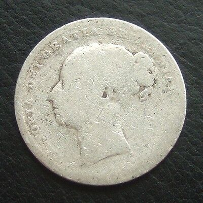 Gb 1883 Victoria Young Head Shilling : .9250 Sterling Silver Coin #20