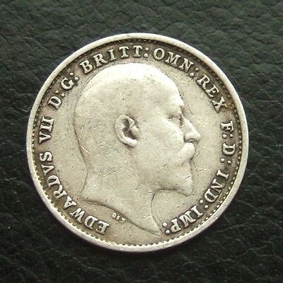 Gb 1905 Threepence : King Edward Vii Sterling Silver Coin #04