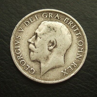 Gb 1914 Shilling : King George V Sterling Silver Coin #20