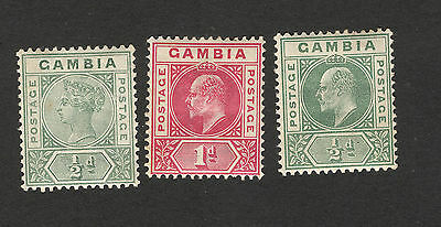 British Colony Gambia-3 Mh Stamps