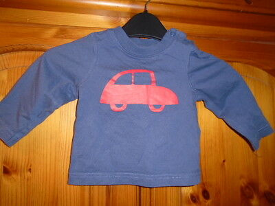 Baby boys blue long sleeve top, red car print, MOTHERCARE, 3-6 months