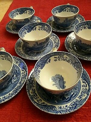 spode blue italian 6 cups and saucers