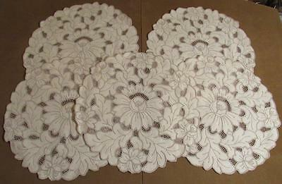 Lot of 5 RARE Vintage Round Doilies Doily Crochet Floral Embroidery Cutwork Lace