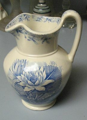 Gorgeous 1860's W.T. Copeland & Sons Aesthetic Style Blue Floral Pitcher