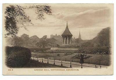 NOTTINGHAM, CHINESE BELL AND NOTTINGHAM CASTLE - TWO DIFFERENT EDWARDIAN B&W PCs