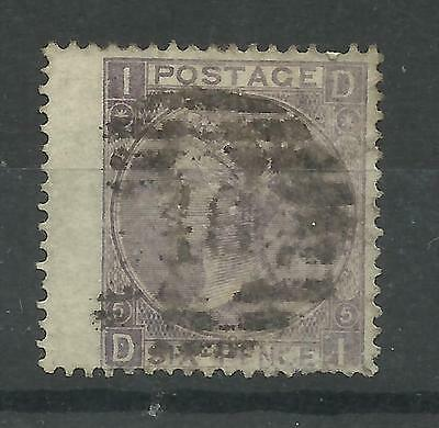 1865/7 Sg 97A, 6d Lilac (DI) Plate 5, Thick Paper, Good used.