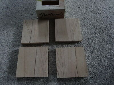 Square Natural Sandstone Coasters Set of 4 - New in Box