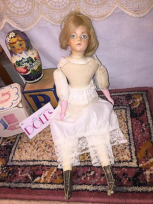 """Reproduction marked """"BRU JNE"""" doll in underclothing, leather boots 15"""" tall"""