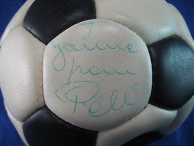 Pele Signed Soccer Ball, Vintage Leather Hand Sewn