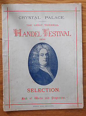 CRYSTAL PALACE 1894-Program and ticket for the Handel Festival