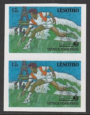 Lesotho (866) 1988 TENNIS Federation 12s IMPERF PAIR unmounted mint