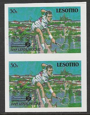 Lesotho (868) 1988 TENNIS Federation 30s IMPERF PAIR unmounted mint