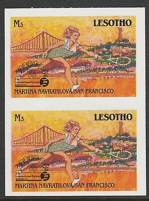 Lesotho (873) 1988 TENNIS Federation 3m IMPERF PAIR unmounted mint