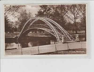 Bedford Suspension Bridge Sepia RPPC P/M Bedford Posted In The Day 1940 Excel