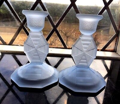 Art Deco Pair Frosted  Glass Candlesticks Celtic 1930's Similar Walther & Sohn