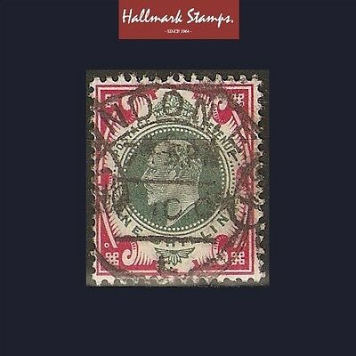 edward vii old stamp one shilling dark green and carmine - good colour