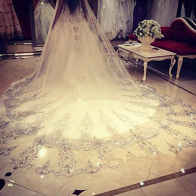 white Beads Crystals Bridal Wedding Veil Cathedral Long 1 T With Comb CUSTOM 3 M