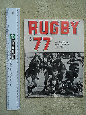 Sydney Rugby Union Publication, Rugby 77, Vol. 55 No. 4. April 23. Programme.