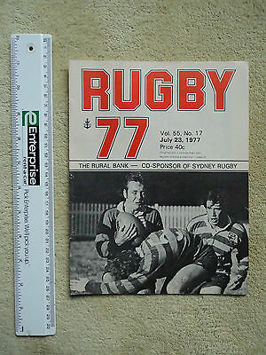 Sydney Rugby Union, Rugby 77, Vol. 55 No. 18. July 30, 1977. Programme.
