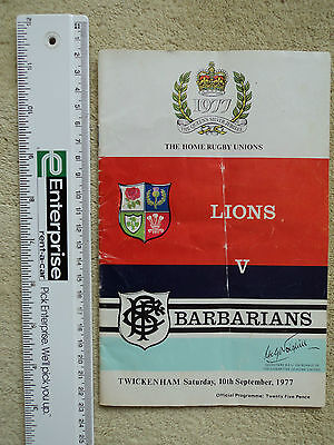 Lions vs Barbarians. Twickenham 10th September 1977. Queen's Silver Jubilee.
