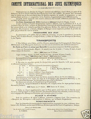 OLYMPICS Athens 1896 Information Poster Summer Olympic Games - preprint