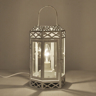 Vintage Style Antique Cream Metal & Clear Glass Table Lamp Lantern Light Lamps
