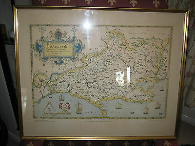 Saxton's Map of Dorsetshire 1575. 1984 Edition British Library. Framed