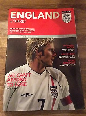 England v Turkey UEFA Euro 2004 Qualifier Official Matchday Programme