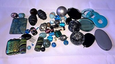 Job lot jewellery making beads. Large mix of blue, green and black beads.