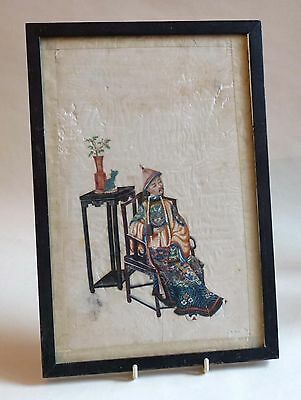 Good Pair of 19thC Chinese School Watercolours / Pith Rice Paper Paintings