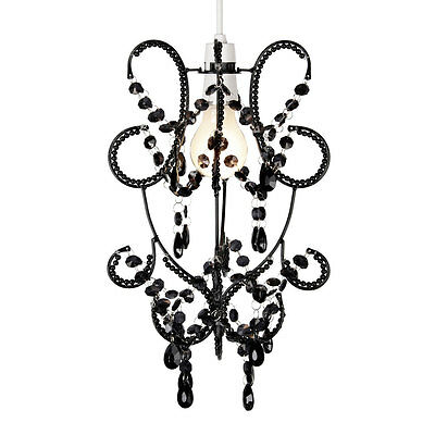 Modern Black Jewel Ceiling Light Fitting Pendant Lamp Shade Chandelier Lampshade