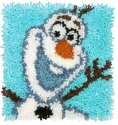"Disney Olaf Frozen Latch Hook Kit 12x12"" By Caron Wonderart. No Tool Included."