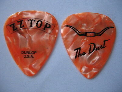 Zz Top Orange Pearl Dusty Hill Real Tour Guitar Pick