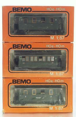 BEMO 3002 3003 3004 - HOe OO9 Model Railways - 3x Narrow Gauge Passenger Coaches
