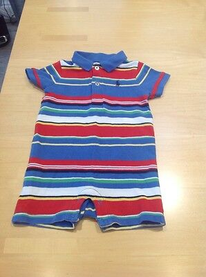Baby Boys Genuine Ralph Lauren Striped Play  Suit Blue, Red Etc Age 9 Months