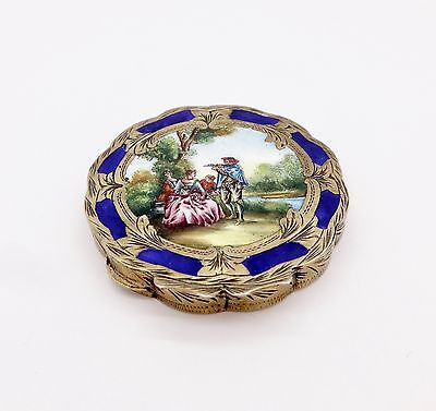 Vintage Italian Romantic Countryside  Scenery Enameled Gilt 800 Silver Compact