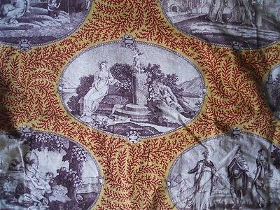 Antique French Fragment  Fabric Toile De Jouy 18Th-Century  Empire