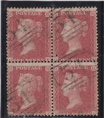 1857 1d. rose-red BLOCK OF FOUR SG 39 plate 48 (QF to RG) - fine used.