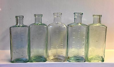 Five Small Vintage Glass Tablespoons Bottles.