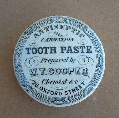 Antiseptic Carnation Tooth Paste Pot Lid W.t.cooper Oxford St. (London)