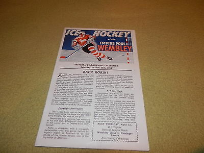 National League Ice Hockey Match - Wembley Lions v Brighton Tigers in 1954