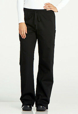 Black Dickies Chef Womens Elastic Drawstring Low Rise Pants DC17 BLK