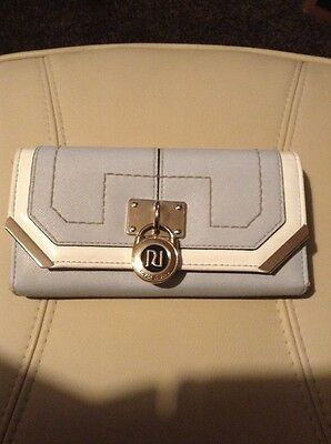 RIVER ISLAND Ladies Large Clutch Purse. Blue And Ivory.
