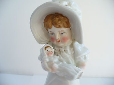 Antique Victorian Porcelain Figurine Of A Girl Holding A Doll