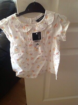 Bnwt Baby Girls White Cotton Blouse With Lollipop & Summer Pastel Logo 18-24 Mth