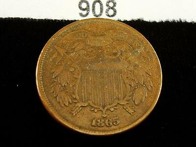 1865 Two Cent 2C Coin - Nice! #908