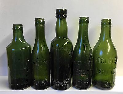 Five Old Large Green Glass Mineral Water/beer Bottles.