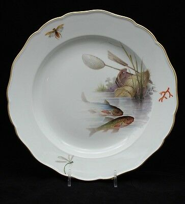 Meissen Hand Painted Cabinet Plate With Fish Design