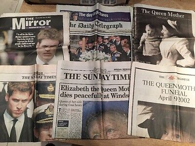 RARE British newspapers + supplements about Death Of The Queen Mother In 2002